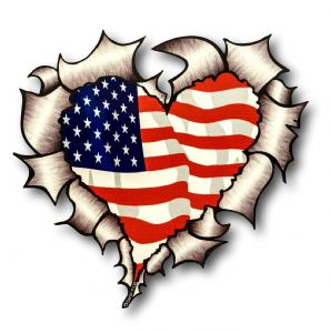 Ripped Torn Metal Heart with American Stars & Stripes Flag Motif External Car Sticker 105x100mm